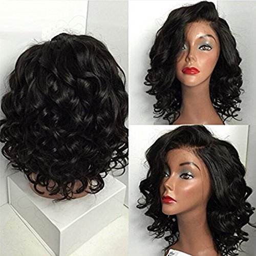 Short Wigs On Sale (Sunwell Short Human Hair Brazilian Virgin Lace Wigs for Black Woman, Cheap Lace Front Wigs Glueless Natural Wavy Short Bob 130% Density On Sale 10