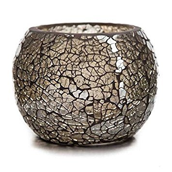 Champagne Beige-Gray Mosaic Glass Roly Poly Votive Candle Holder