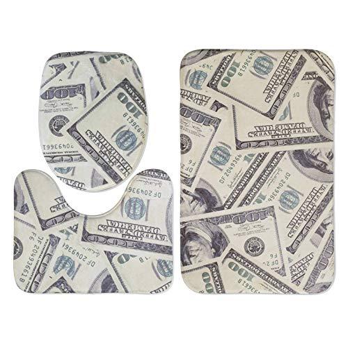 LIVETTY 3 Piece Bath Rug Set Vintage Hundred Dollar Money Cash Bill of United States Bath Decor Soft Flannel Non-Skid Memory Foam Bathroom Mat 20 x 32 Inches U-Shape Contour Toilet Rug with Lid Cover
