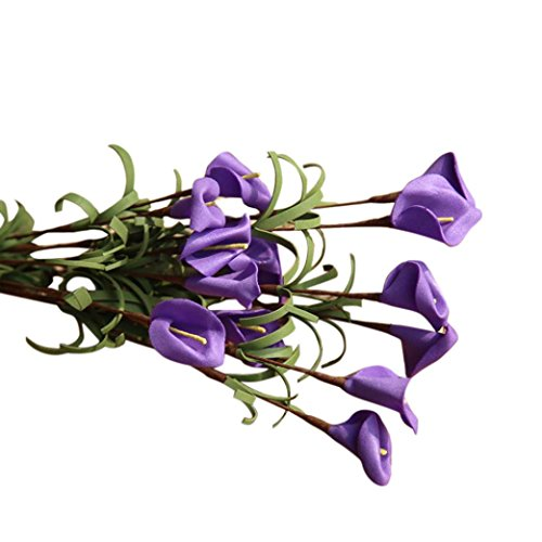 Jchen(TM) Artificial Fake Flowers Leaf Calla Lily Floral Wedding Bouquet Party Home Bedroom Decor (Dark - Dark Lily Purple
