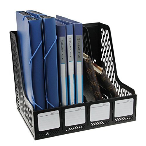 Clobeau Heavy Duty Four Sections File Rack Paper Magazine Holder Home Office Desk Book Sorter Storage Hanger Tidy Dispay Bin Desktop Shelf File Dividers Cabinet Document Tray Organizer Box (File Dividers Shelf)