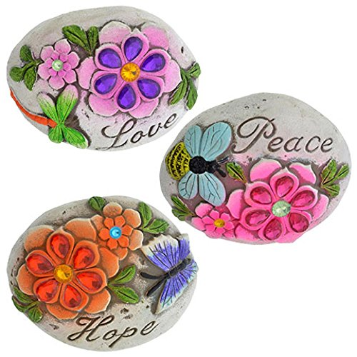 Garden Themed Cement Stepping Stones with Sayings ( 3pcs set; Love, Hope, & ()