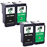 J2INK 4 Pack PG-145XL CL-146XL Black Tri-Color High Yield Ink Cartridge Use for PIXMA Printers