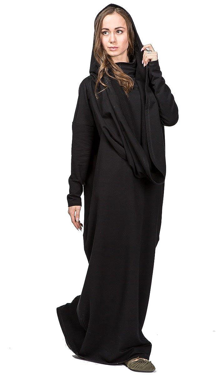 IndiaStyle Spring Women Black Long Loose Casual Long Comfortable Maxi Dress