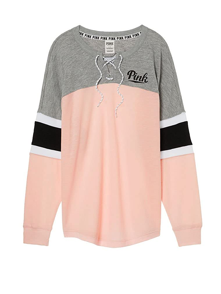 e30e9c75d454 Victoria s Secret Pink Lace Up Colorblock Varsity Crew Pullover Pink Gray  (Large) at Amazon Women s Clothing store