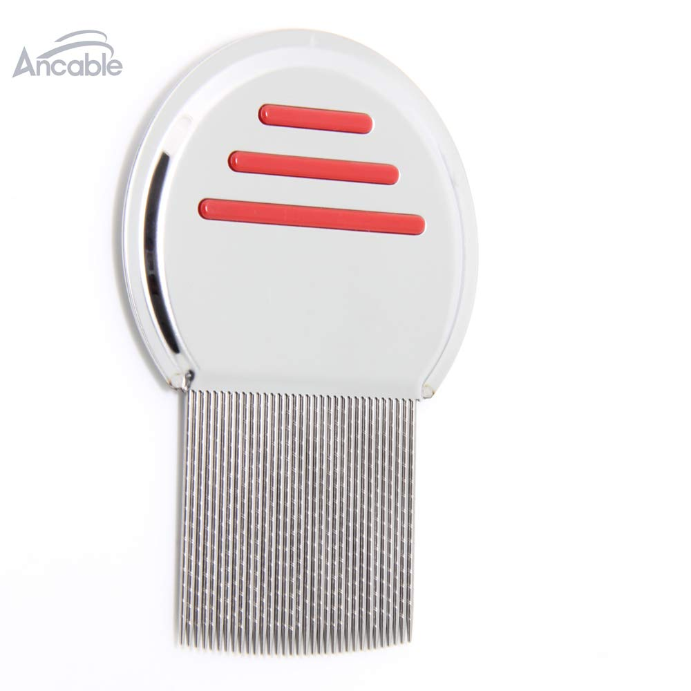 Lice Comb, Ancable Professional Stainless Steel Comb Set for Head Lice Treatment Removes Nits Louse Eggs - Red