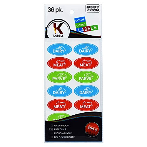 36 Assorted Kosher Labels - 12 Blue Dairy, 12 Red Meat, 12 Green Parve Stickers -Oven Proof up to 500°, Freezable, Microwavable, Dishwasher Safe, English – Color Coded Kitchen Tools by The Kosher Cook ()