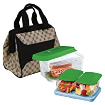 Fit and Fresh Downtown Insulated Designer Lunch Kit, Cocoa, 9-Inch x 6-Inch x 8-Inch