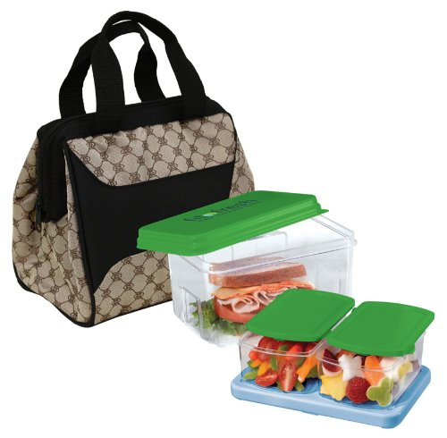 Fit & Fresh Downtown Lunch Bag Kit for Women, Includes Stylish Insulated Lunch Bag, Portion Control Container Set and Ice Pack, - Downtown In La Stores