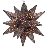 Moravian Star Light, Flower Pierced Tin, Amber Marbles, Bronze, 15″
