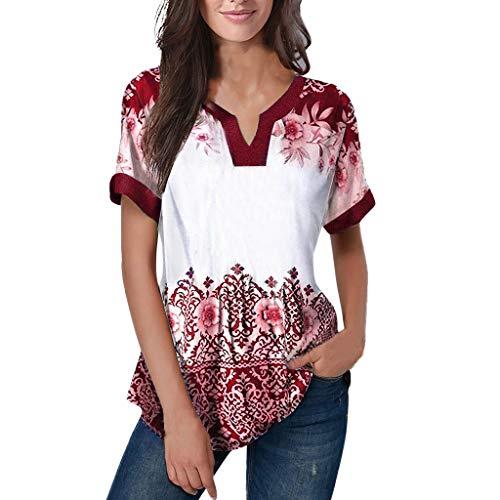 Women's Summer V Neck Raglan Short Sleeve Tee Shirts Simayixx Casual Blouses Printed Tshirts Summer Tops Wine Red ()
