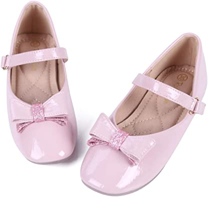JJHAEVDY Toddler Little Girls Leather Mary Jane Bow Princess Party Dress Shoes Ballerina Flats Shoes