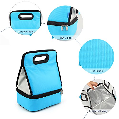 Expandable Lunch Bag Double Layer Cooler Tote Bag for Adult Women and Men - Idea for Beach, Picnics, Road Trip, Meal Prep, Everyday Lunch to Work or School, Ice Blue by yodo (Image #5)