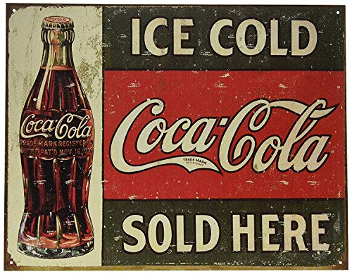 ZMZC Retro Metal tin Sign Poster Revolution Ice Cold Coca Cola Coke Sold Here 1916 Distressed Retro Vintage Signs 8 x 12 inches