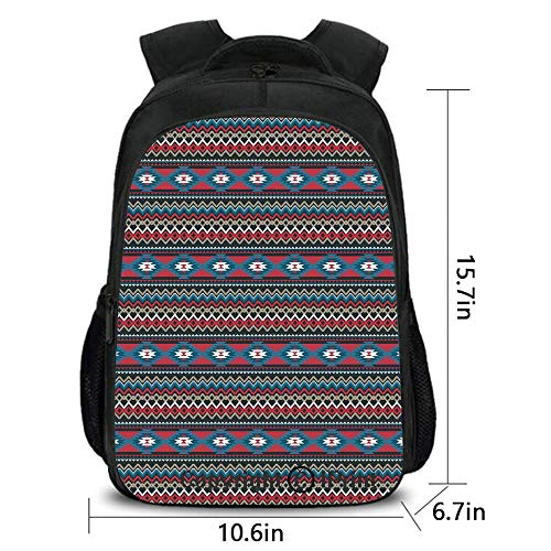 (Backpack,Primitive Style Aztec Folkloric Striped Design Antique Maya Patterns,School Bag :Suitable for Men and Women,School,Travel,Daily use,etc.Black Blue Coral )
