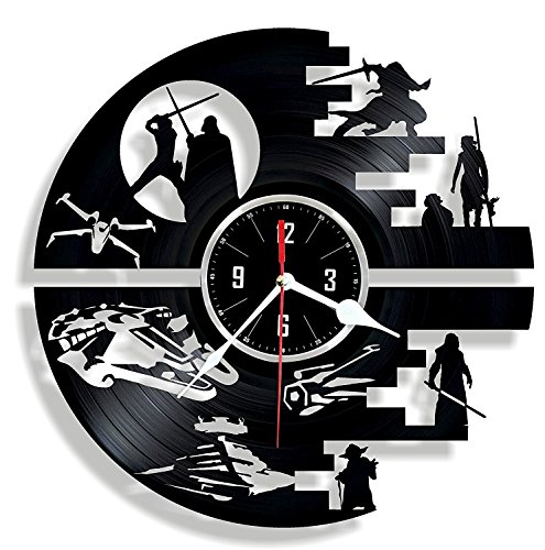 DEATH STAR Vinyl wall clock – great gift for birthday anniversary or any other occasion – beautiful home decor – unique design that made out of retro vinyl record