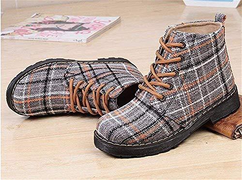 Lona Mujer Botas Antideslizante Para 37 Cilindro De Otoño Invierno Plano Fondo Deed Nieve Eu Medio Zapatos Grueso x8p11q