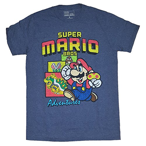 Fashion Super Mario Bros Adventures Blue Graphic T-Shirt,X-Large 46/48