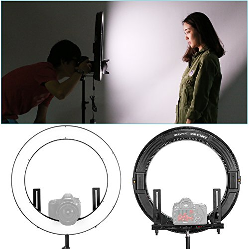 Neewer DVR-160TVC 19 inches Ring Light and Stand Lighting Kit - SMD LED Ring Light(3200-5600K,95+)with 4 Quarters ON/OFF Switch, 9 feet Stand for Makeup, Portrait Photography and Video Recording