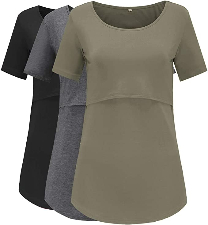 baskuwish Nursing Tops for Breastfeeding Womens Floral Nursing Tank Tops Comfy Breastfeeding Shirts