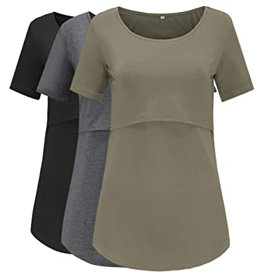 2770594c30d82 Jezero Women's Short Sleeve Nursing Tops Round Neck Breastfeeding Shirt 3- Pack