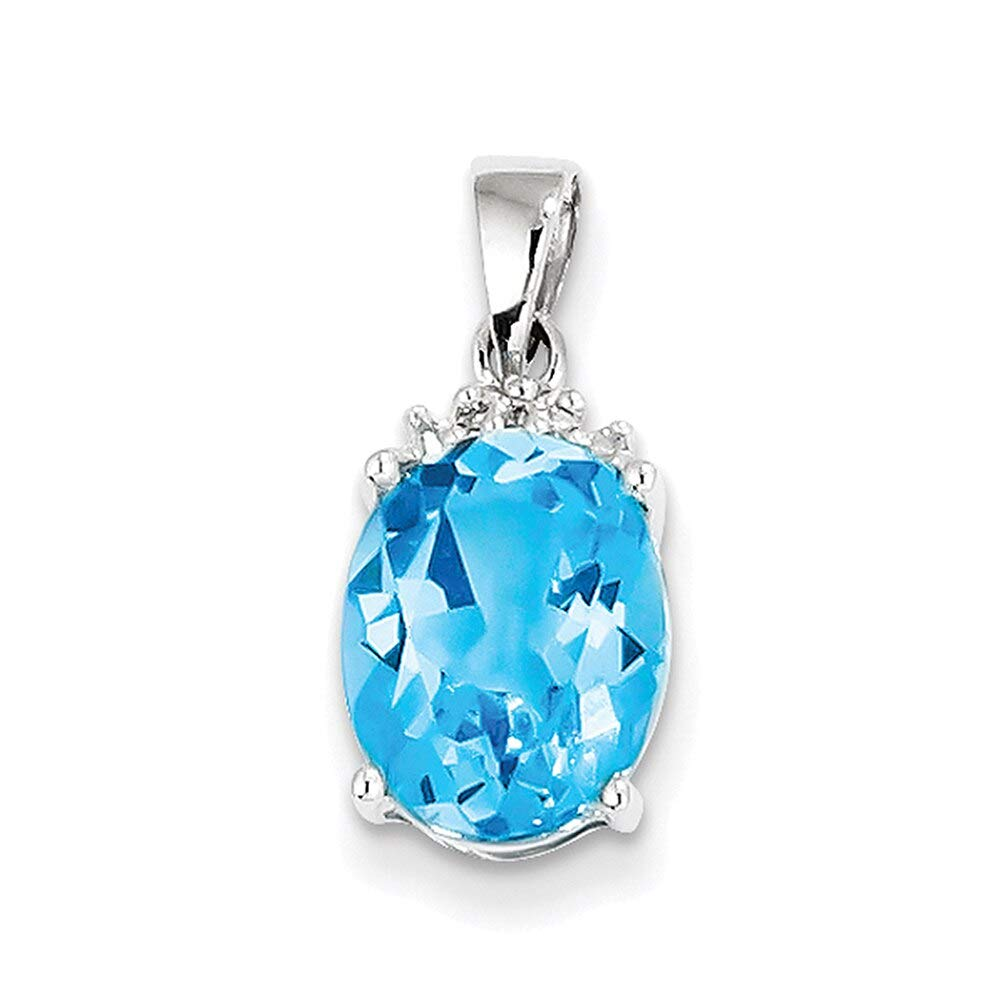 Lex /& Lu Sterling Silver w//Rhodium Lt Swiss Blue Topaz Diamond Pendant LAL25333-Prime