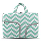 HESTECH 11.6-12.3 Chromebook Case with Handle, Canvas Laptop Sleeve Compatible for Acer Chromebook r11/HP Stream/Samsung Chromebook/MacBook air 11/ Surface Pro3/Pro4, Mint Green Chevron