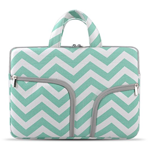 Chromebook Case, HESTECH 12.5-13.3 Canvas Fabric Laptop Sleeve Case with Handle for ASUS C302 12.5 inch MacBook Air Pro 13iPad Pro 12.9 Surface Book Pro3/Pro4 Acer Chromebook R13, Mint Green Chevron