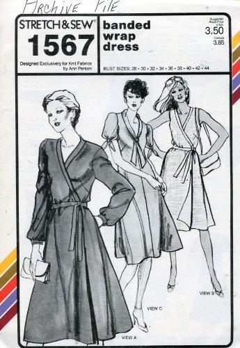 Stretch & Sew Pattern 1567 ~ Banded Wrap Dress ~ Bust 28-44 (Wrap Sew Dress)