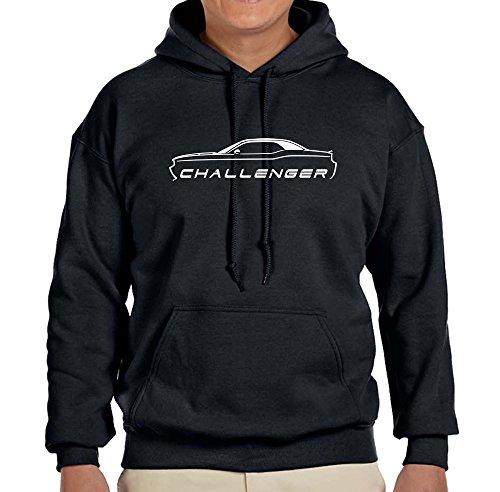 2010-15 Dodge Challenger Classic Outline Design Hoodie Sweatshirt 2XL black