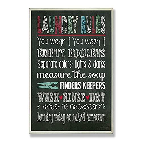 Stupell Home Dcor Laundry Rules Typography Chalkboard Bathroom Wall  Plaque, 10 x 0.5 x 15, Proudly Made in USA