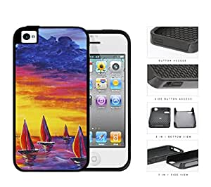 Sailboats Floating In The Sea Watercolor Painting [iPhone 4 4s] 2-piece Dual Layer High Impact Black Silicone Cover