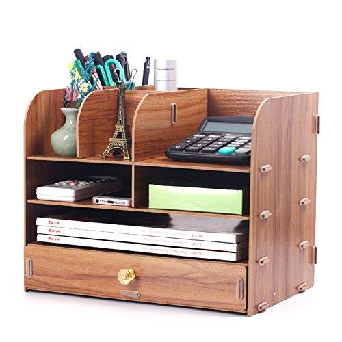 - JX&BOOS Bookshelf,Office Supplies Desktop Storage Box Drawer Type Bookcase Creative Bookshelves File Data Rack Stationery Rack Wooden-I 33x24x30cm(13x9x12)