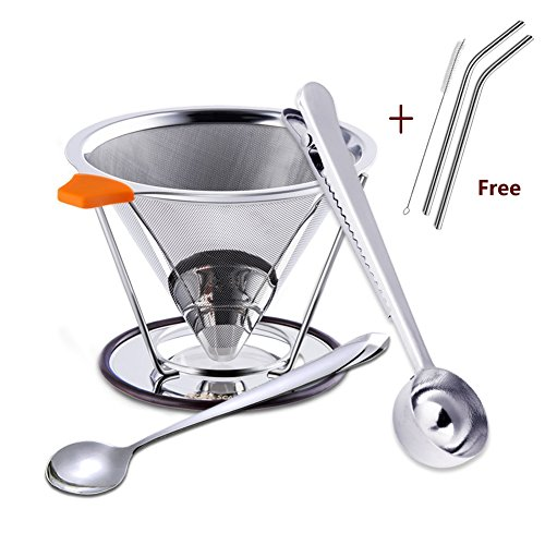 Pour Over Coffee Dripper | Cone Coffee Filter Stainless Steel, with Mixing Spoon and Coffee Scoop by ERZA SCARLET, includes Free Stainless Steel Straws and Brush, 1-4 Cups by ERZA SCARLET