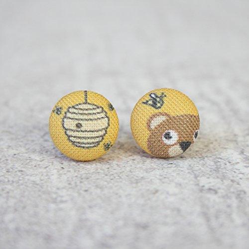 Honey and Bear Fabric Button ()