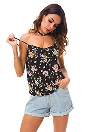Tsher Women's Sleeveless V-Neck Camisole Floral Summer Casual Spaghetti Straps Tank Tops 0034 (L Black)