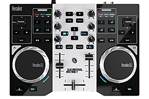Hercules DJControl Instinct S series, ultra-mobile USB DJ Controller with Audio Outputs for use with your Headphones and your Speakers (DJ Equipment)