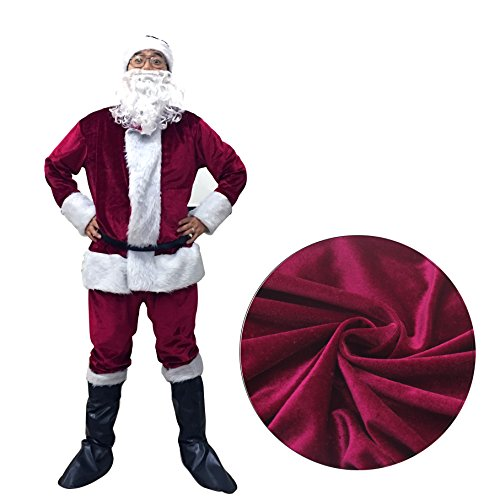 Family Friendly Costumes (Fanng Christmas Santa Claus Costume Adult Deluxe Plush Christmas Santa Claus Suit Costume 6pcs)