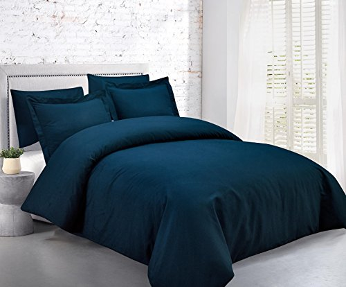 Mellanni Duvet Cover Set 5pcs - Soft Double Brushed Microfiber Bedding with 2 Shams and 2 Pillowcases - Button Closure and Corner Ties - Wrinkle, Fade, Stain Resistant (Full/Queen, Royal Blue) ()
