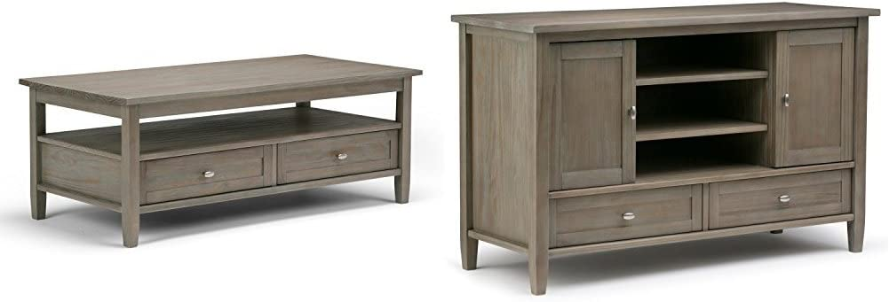 Simpli Home Warm Shaker Coffee Table, Distressed Grey + Simpli Home Warm Shaker TV Media Stand, Distressed Grey :Bundle