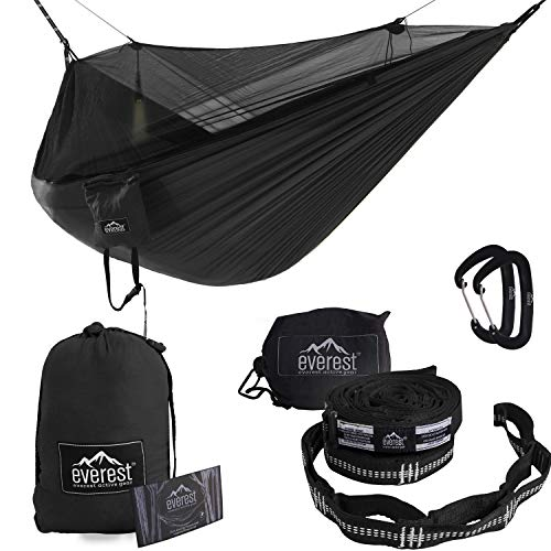 Everest Double Camping Hammock with Mosquito Net | Bug-Free Camping, Backpacking & Survival Outdoor Hammock Tent | Reversible, Integrated, Lightweight, Ripstop Nylon | Khaki/Woodland/Net Black