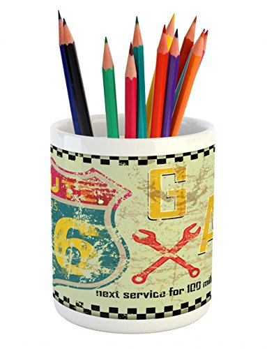 Cheap  Lunarable Route 66 Pencil Pen Holder, Highway Road Gas Station Fuel Signs..