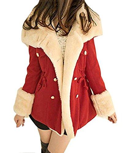 Minetom Femme Mode Hiver Chaud Manteaux  Capuche Veste Manteau Casual Outwear Coat Rouge