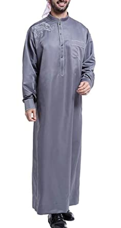Pivaconis Men Muslim Middle East Long Sleeve Loose Gown Arabic Shirts Dark  Grey Small 272ba0b38