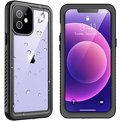 """SPIDERCASE Designed for iPhone 12 Case, Waterproof Built-in Screen Protector, Shockproof Full Body Cover Rugged Case Only for iPhone 12 6.1"""" 2020 Released, Black/Clear"""