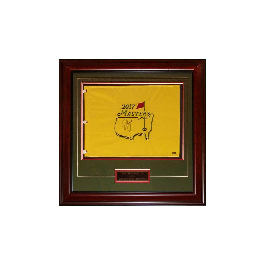 Sergio Garcia Autographed Signed Auto 2017 Masters Deluxe Framed Pin Flag with Engraving JSA Certified Authentic