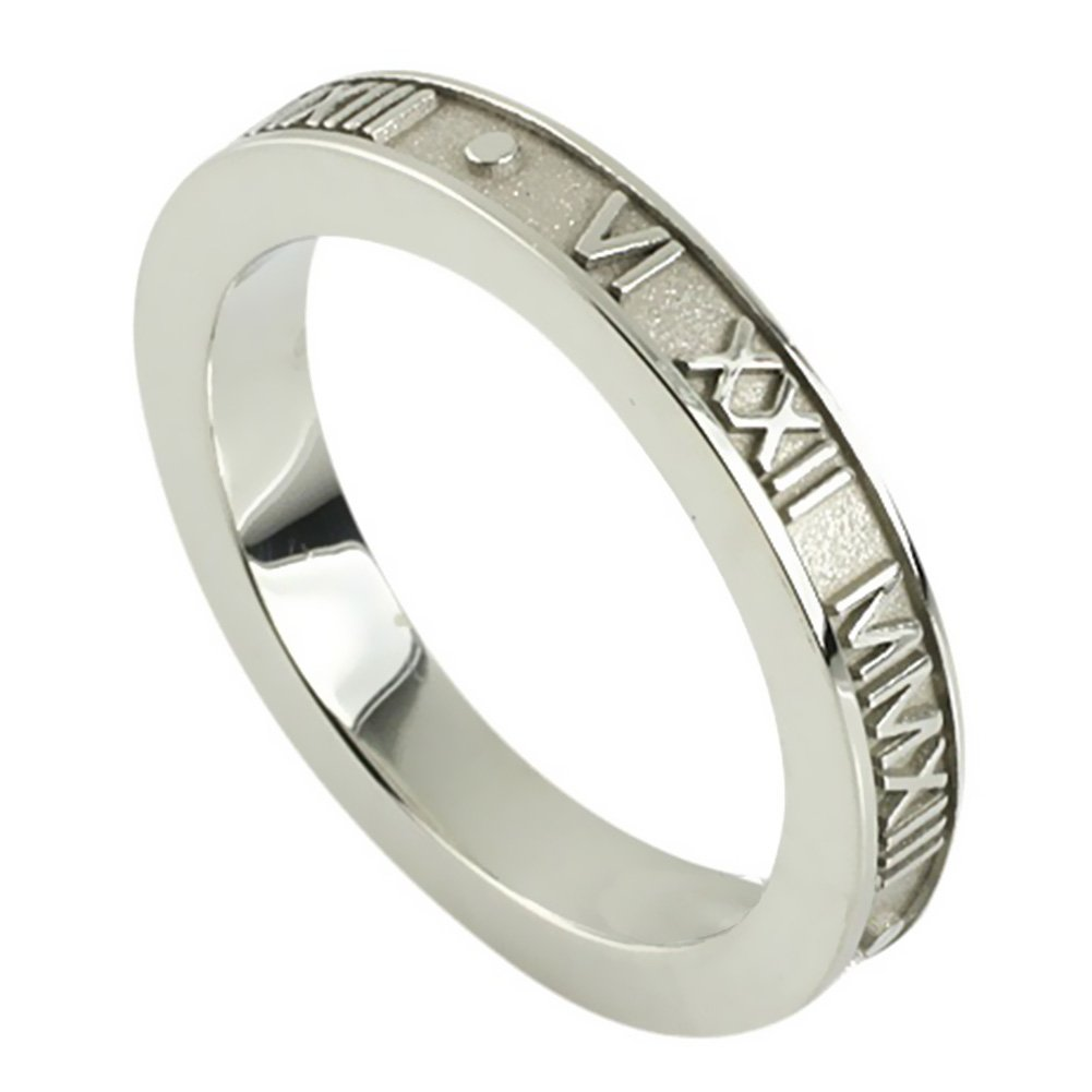 Solid 925 Sterling Silver Personalized 3mm Stackable Roman Numeral Ring