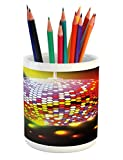 Ambesonne Popstar Party Pencil Pen Holder, Vibrant Colorful Disco Ball Nightclub Celebration Party Dance and Music Print, Printed Ceramic Pencil Pen Holder for Desk Office Accessory, Multicolor