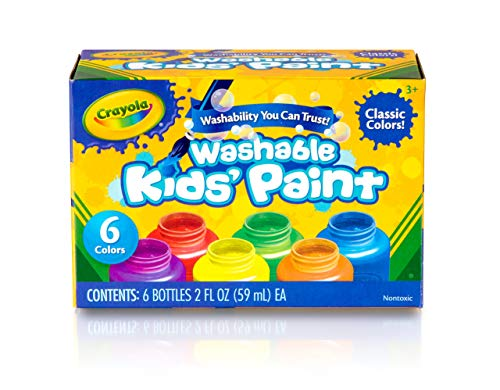(Crayola Washable Kids Paint, Classic Colors, 6 Count, Painting Supplies, Gift)