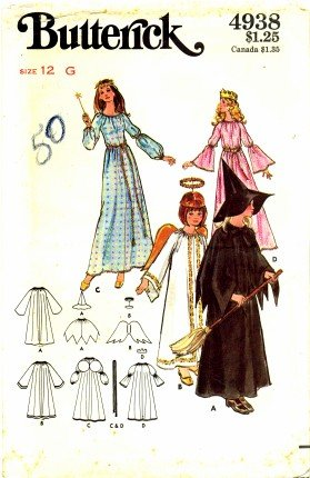Butterick 4938 Sewing Pattern Girls Witch Fairy Godmother Angel Costumes Size 12